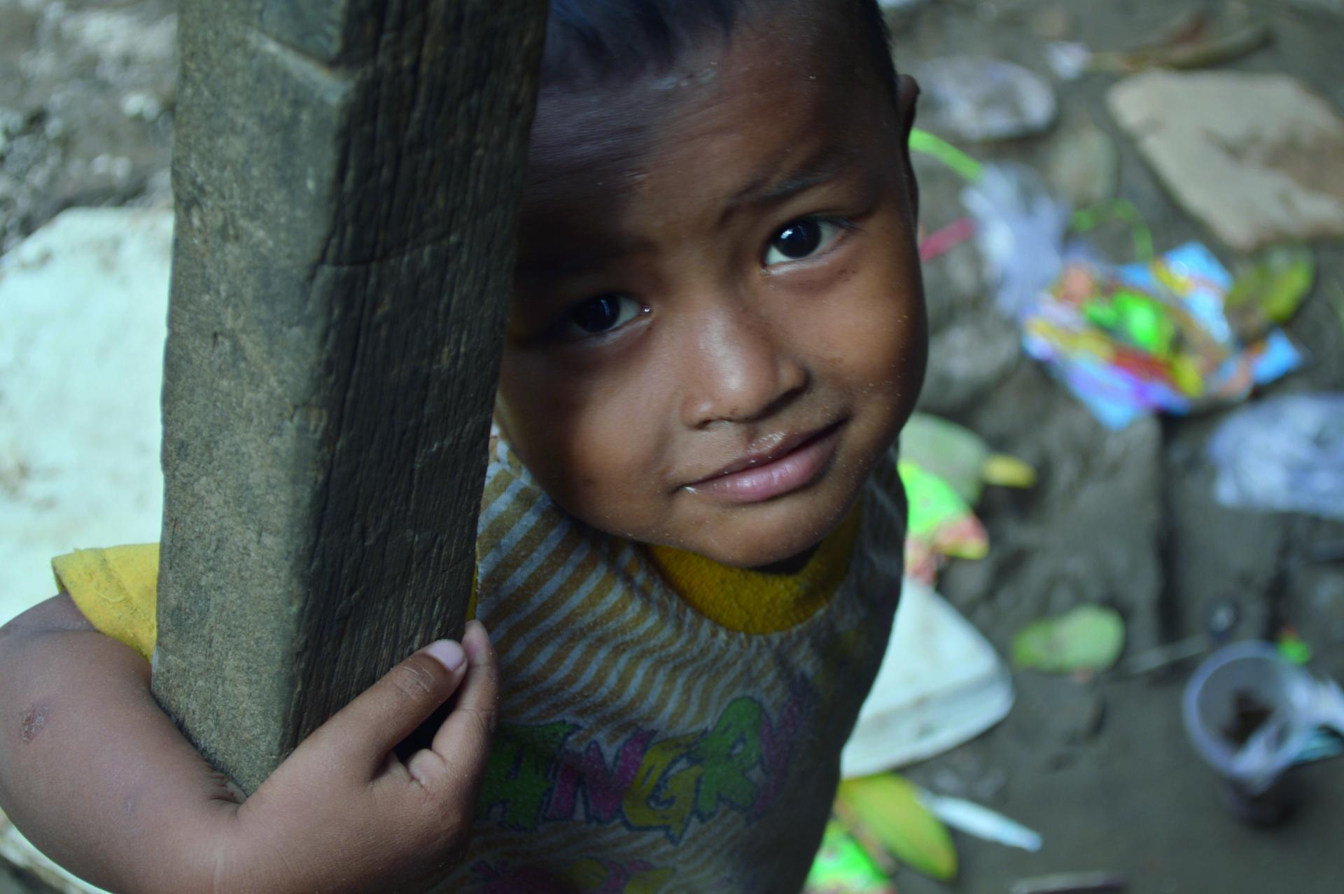 A child in an area of great poverty
